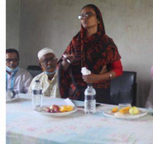 রামদিয়া বালিকা উচ্চ বিদ্যালয়ের এ্যডহক কমিটির সভায় বক্তব্য দেন  প্রধান শিক্ষক ফিরোজা বেগমের